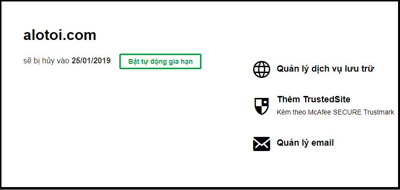 Gia hạn domain tại Godaddy