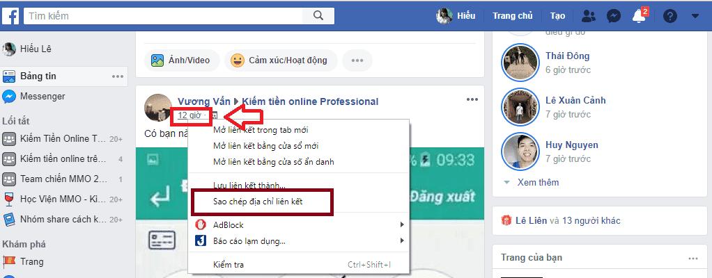 Lấy ID bài viết facebook